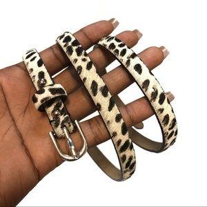 Ann Taylor Skinny Real Leather Animal Print Belt